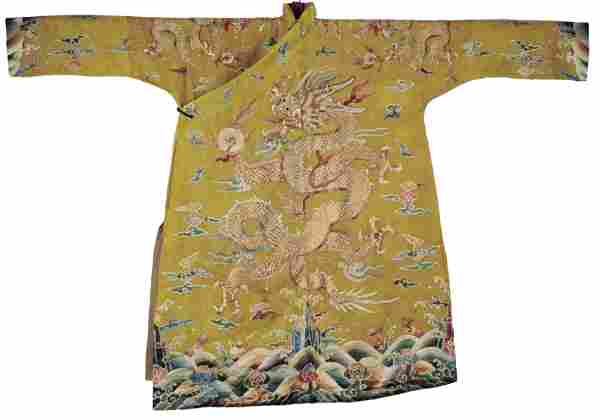 A Chinese Embroidered Dragon Robe
