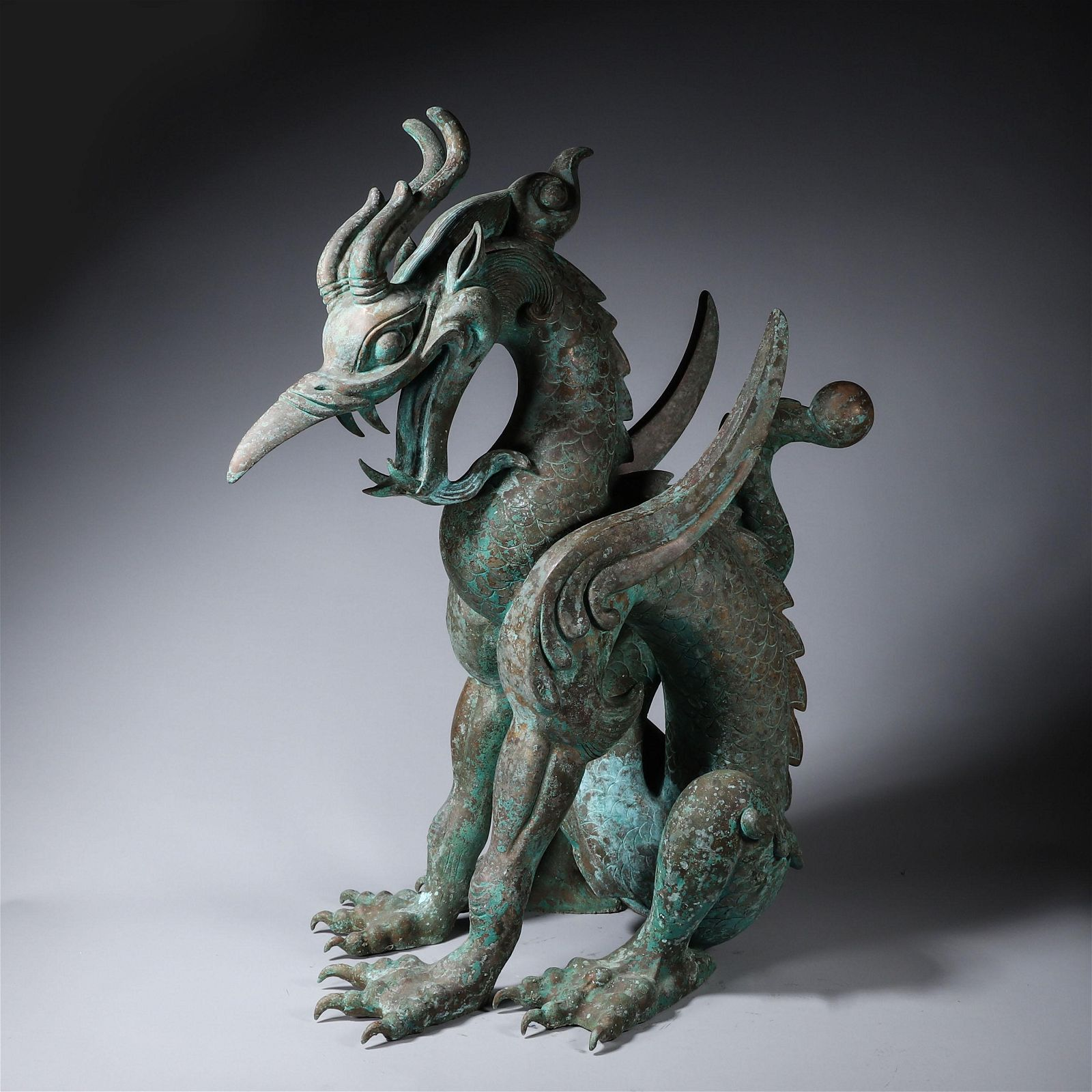 A Bronze Seated Dragon