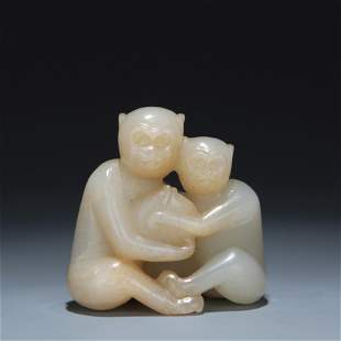 A Carved White Jade Monkeys Group Qing Dynasty