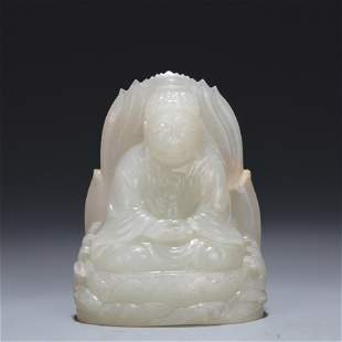A Carved White Jade Seated Buddha Qing Dynasty