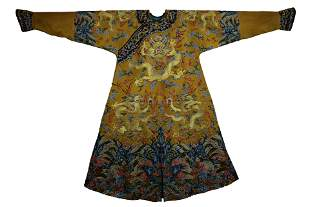 An Imperial Embroidered Dragon Robe Qianlong Period