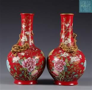 Pair Famille Rose Dragon Vases