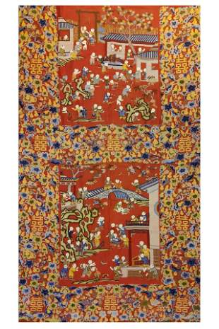 An Embroidered Kid at Play Panel Qing Dynasty