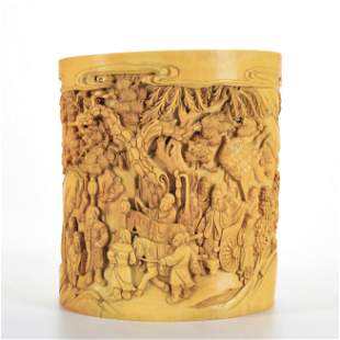 A Carved Organic Material Brushpot