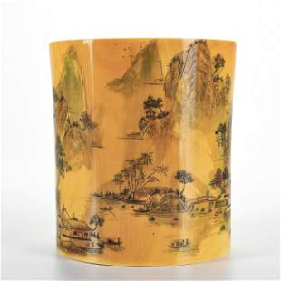 A Carved Organic Material Landscape Brushpot