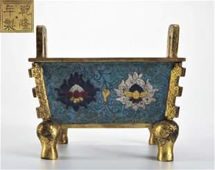 A Cloisonne Enamel Bronze Censer Qing Dynasty