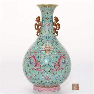 A Famille Rose and Gilt Dragons Vase Qianlong Mark