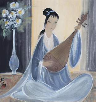 A Chinese Scroll Painting By Lin Fengmian