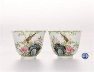 Pair Famille Rose Floral and Birds Cups Yongzheng Mark