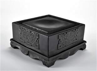 A Carved Ink Paste Stand Qing Dynasty