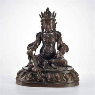 A Bronze Seated Jambhala Qing Dynasty