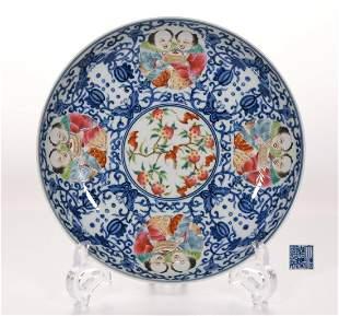 An Underglaze Blue and Famille Rose Plate Jiaqing Mark