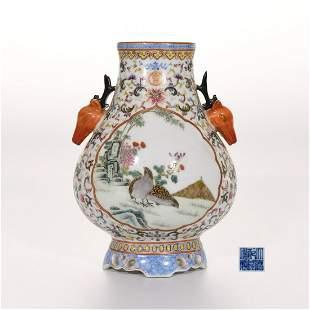 A Famille Rose and Gilt Zun Vase Qianlong Mark