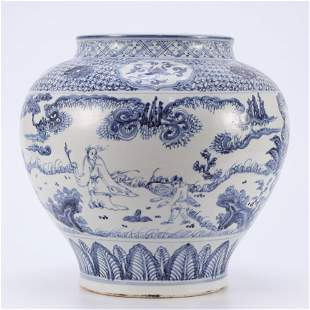 A Blue and White Figural Jar Ming Style