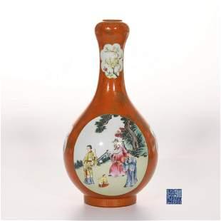 A Famille Rose and Gilt Garlic Head Vase Qianlong Mark