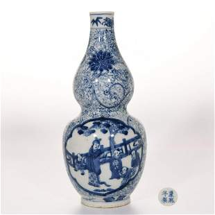 A Blue and White Figural Double Gourds Vase Kangxi Mark