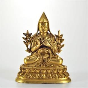 A Tibetan Gilt-bronze Seated Tsong Khapa