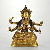A Tibetan Gilt-bronze Seated Bodhisattva
