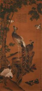 A Chinese Scroll Painting By Wang Yuan