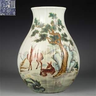 A Famille Rose Deers Zun Vase Qing Dynasty