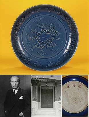 A Blue Glazed Dragon Plate Ming Dynasty