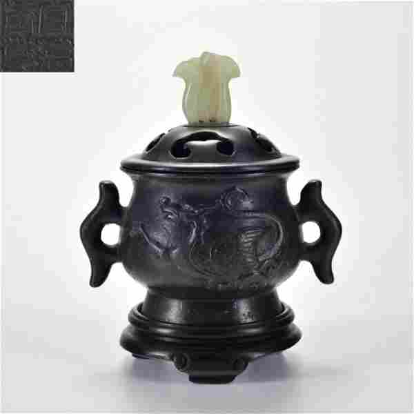 A Bronze Censer with Double Handles Qing Dynasty