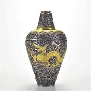 A Silver Parcel Gilt Dragon Vase