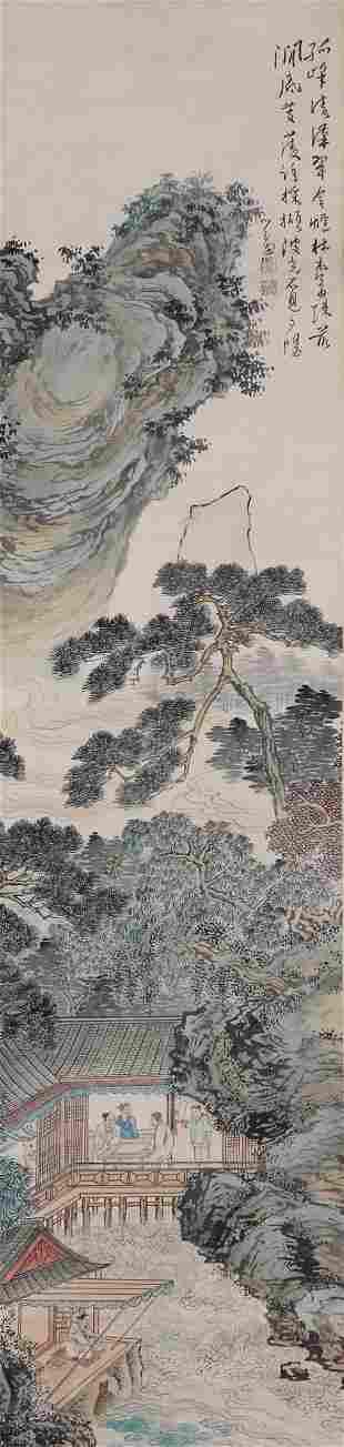 A Chinese Scroll Painting By Pu Ru