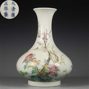A Famille Rose Floral Bottle Vase Qing Dynasty