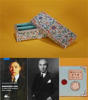 A Famille Rose Floral Scrolls Scholar Box Qing Dynasty