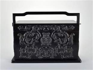 A Carved Rosewood Picnic Box Qing Dynasty