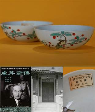 Pair Famille Rose Floral and Birds Bowls Qing Dynasty