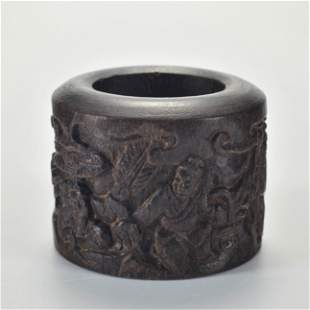 A Carved Aloes-wood Archer Ring Qing Dynasty
