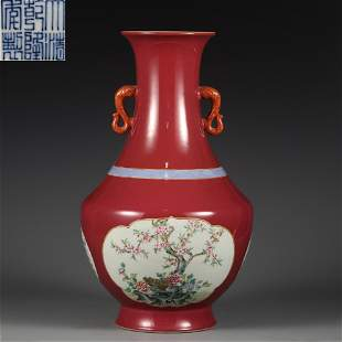 A Red Ground Famille Rose Vase Qing Dynasty
