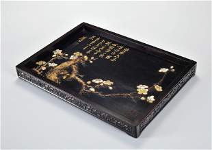 A Mother of Pearl Inlaid Rosewood Tea Tray Qing Dynasty