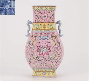 A Famille Rose Floral Zun Vase Qing Dynasty
