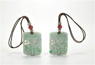 Pair Carved Jadeite Panels Qing Dynasty