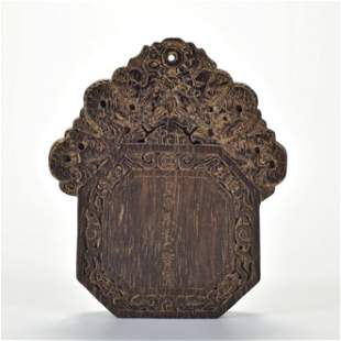 A Carved Aloes-wood Panel Qing Dynasty