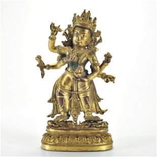 A Gilt-bronze Standing Bodhisattva