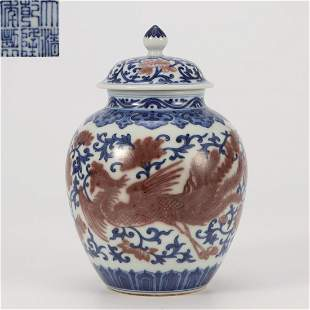 An Underglaze Blue and Copper Red Jar Qing Dynasty