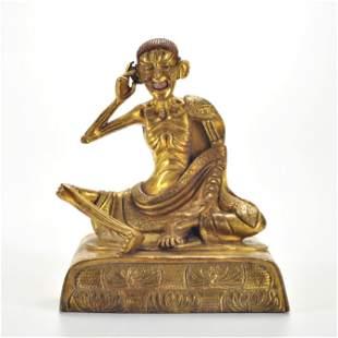 A Tibetan Bronze Seated Milarepa