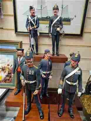 Seven Royal Marine Artillery Infantrymen on Mahogany