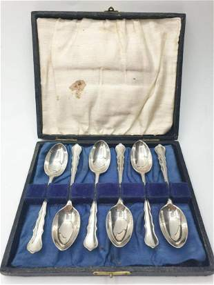 Antique set of 6 silver spoons. Each spoon hallmarked