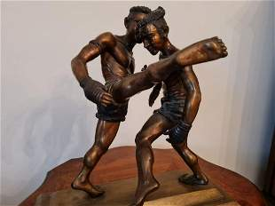 Bronze figure of two MUAY THAI fighters. H40 W39