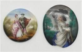 Two vintage miniature porcelain portraits.