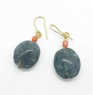 A pair of agate and coral earrings. 5.4g in weight.