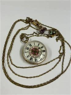 Antique 14ct gold ladies suffragette pocket watch with