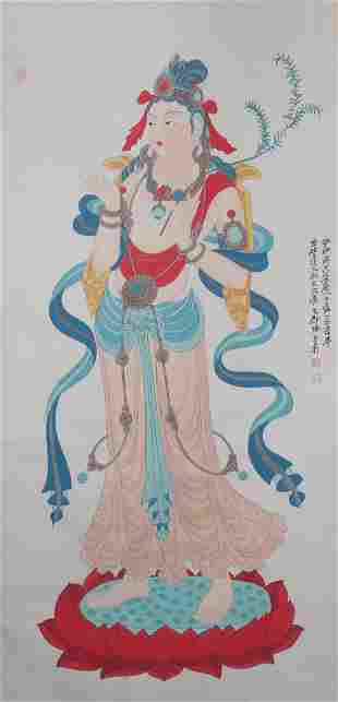 A Chinese Buddha Painting Scroll, Zhang Daqian Mark