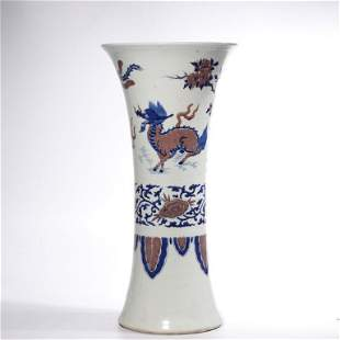CHINESE BLUE WHITE IRON RED PORCELAIN VASE