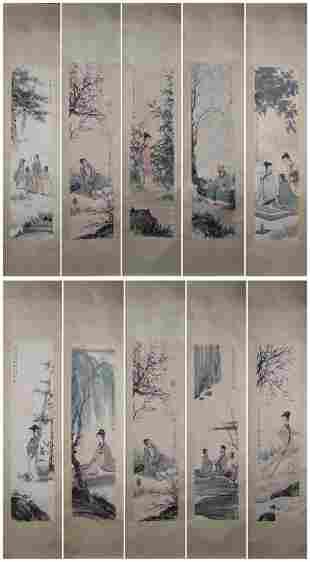 CHINESE SET OF TEN CHINESE FIGURE PAINTING FU BOSH